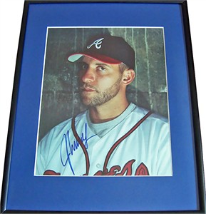 John Smoltz autographed Atlanta Braves magazine full page photo matted & framed
