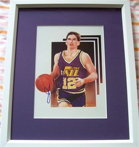 John Stockton autographed Utah Jazz art print matted & framed