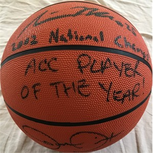 Steve Blake & Juan Dixon autographed NCAA basketball inscribed ACC PLAYER OF THE YEAR! 2002 National Champs!