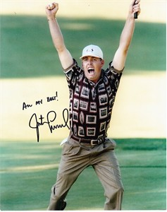 Justin Leonard autographed 1999 Ryder Cup 8x10 celebration photo inscribed All My Best!