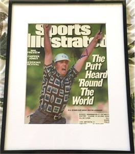 Justin Leonard autographed 1999 Ryder Cup winning putt celebration photo matted & framed