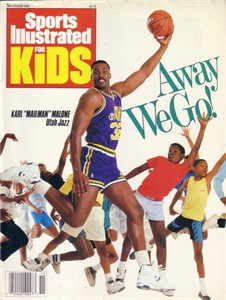 Karl Malone Utah Jazz 1989 Sports Illustrated for Kids magazine