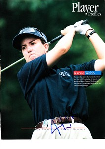 Karrie Webb autographed full page golf magazine photo