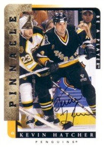 Kevin Hatcher certified autograph Pittsburgh Penguins 1997 Be A Player card