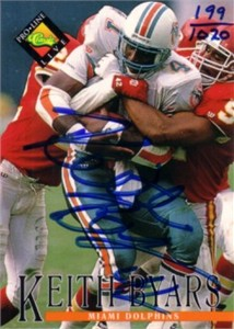 Keith Byars certified autograph Miami Dolphins 1993 Pro Line card