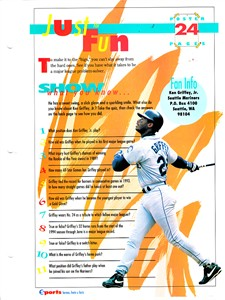 Ken Griffey Jr. Seattle Mariners 1994 Sports Heroes album page & mini poster
