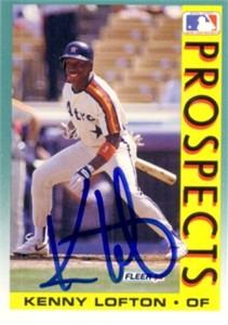 Kenny Lofton autographed Houston Astros 1992 Fleer card