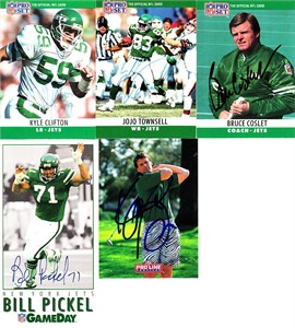 5 New York Jets autographed 1990s cards (Kyle Clifton Ken O'Brien Bill Pickel)