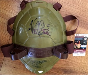 Kevin Eastman & Vanilla Ice autographed Teenage Mutant Ninja Turtles toy shell shield inscribed & sketched JSA