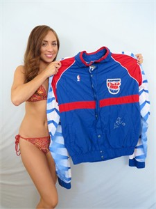 Kevin Edwards autographed New Jersey Nets game worn warm-up jacket and pants