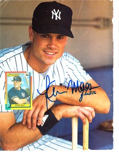 Kevin Maas autographed New York Yankees Beckett Baseball back cover photo