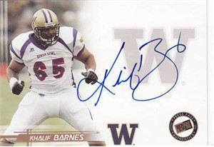 Khalif Barnes Washington certified autograph 2005 Press Pass card