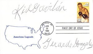 Kid Gavilan autographed 1993 Joe Louis First Day Cover with rare Gerardo Gonzalez signature