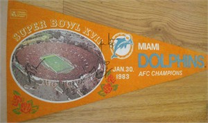 Kim Bokamper Jimmy Cefalo Joe Rose autographed Miami Dolphins Super Bowl 17 pennant