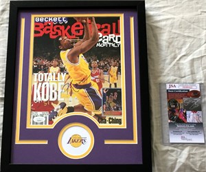Kobe Bryant autographed Los Angeles Lakers Beckett Basketball cover matted & framed