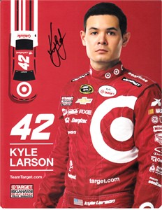 Kyle Larson autographed Target Racing 7x9 NASCAR photo card