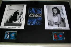 Lance Henriksen & Sanaa Lathan autographed Alien vs Predator 8x10 movie photos framed with costume cards
