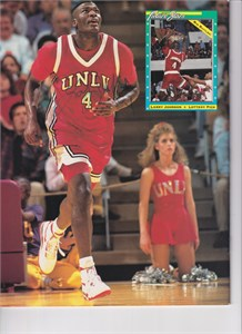 Larry Johnson autographed UNLV Rebels Beckett back cover photo