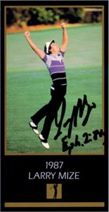 Larry Mize autographed 1987 Masters Champion golf card