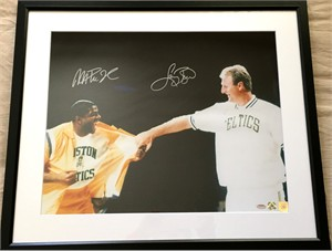 Larry Bird & Magic Johnson autographed Bird Retirement Ceremony 16x20 inch poster size photo matted & framed (Schwartz Sports/Superstar Greetings)