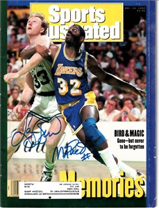 Larry Bird & Magic Johnson autographed 1992 Sports Illustrated (Schwartz Sports)