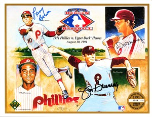 Larry Bowa Jim Bunning Don Money autographed 1971 Philadelphia Phillies 1992 Upper Deck card sheet
