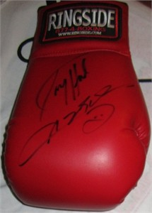 Larry Holmes & Sugar Ray Leonard autographed Ringside boxing glove