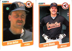 Larry Sheets and Brian Holton Baltimore Orioles 1990 Fleer baseball blank back error cards