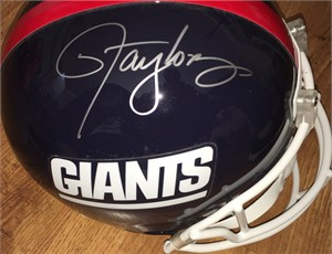 Lawrence Taylor autographed New York Giants Riddell full size throwback helmet (Leaf Authentics)