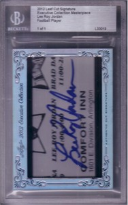 Lee Roy Jordan certified autograph 2012 Leaf Executive Masterpiece Cut Signature card #1/1