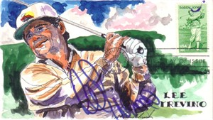 Lee Trevino autographed hand painted Bobby Jones First Day Cover cachet