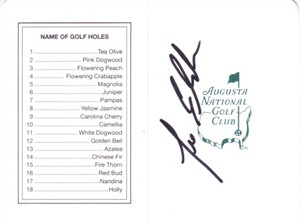 Lee Elder autographed Augusta National Masters scorecard