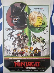 Lego Ninjago cast autographed 2017 Comic-Con poster (Dave Franco Olivia Munn Justin Theroux)