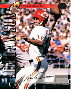 Len Dawson certified autograph Kansas City Chiefs 1997 Leaf 8x10 photo card #985/1000