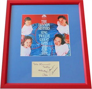 Lennon Sisters autographed paper matted & framed with album cover print