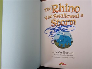 LeVar Burton autographed The Rhino Who Swallowed a Storm children's book