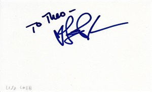 Lisa Loeb autographed index card