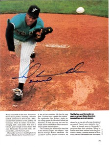 Livan Hernandez autographed Florida Marlins magazine photo