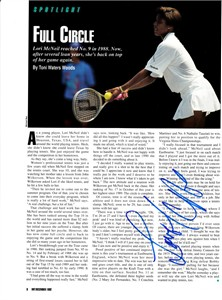 Lori McNeil autographed full page tennis magazine photo