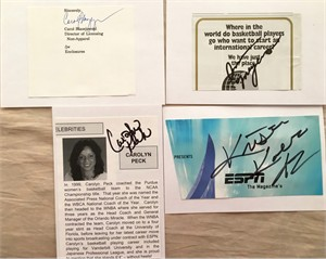 Lot of 4 women's basketball cut signatures (Carol Blazejowski Kristen Koetsier Ann Meyers Carolyn Peck)