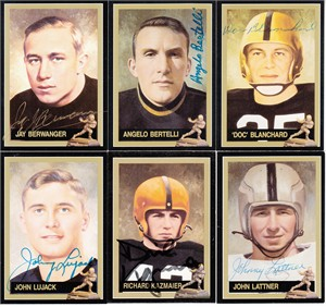 Lot of 11 different autographed Heisman Trophy winner cards (Angelo Bertelli Jay Berwanger Doc Blanchard Archie Griffin Johnny Lattner)