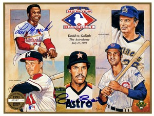 Lou Brock Cesar Cedeno Eddie Mathews Gaylord Perry Billy Williams autographed 1991 Upper Deck card sheet