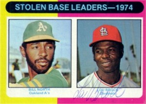 Lou Brock autographed St. Louis Cardinals 1975 Topps Stolen Base Leaders card