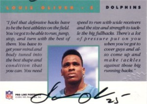 Louis Oliver Miami Dolphins certified autograph 1991 Pro Line card