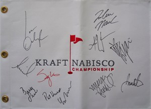 LPGA Kraft Nabisco embroidered canvas golf pin flag autographed by 11 winners (Stacy Lewis Lorena Ochoa Inbee Park Annika Sorenstam Yani Tseng Karrie Webb)