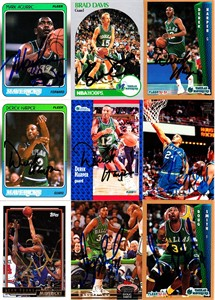 9 Dallas Mavericks autographed cards (Mark Aguirre Brad Davis Derek Harper Jim Jackson)