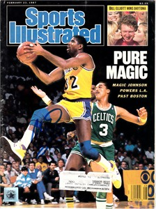 Magic Johnson autographed Los Angeles Lakers 1987 Sports Illustrated (Superstar Greetings)