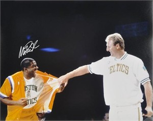 Magic Johnson autographed Larry Bird Retirement Night 16x20 poster size photo
