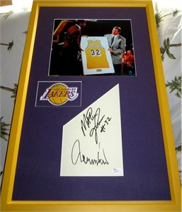 Magic Johnson & Jerry West autographs matted & framed with Los Angeles Lakers 8x10 photo (JSA)