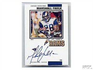 Marshall Faulk certified autograph St. Louis Rams 2001 Upper Deck Vintage Signatures card